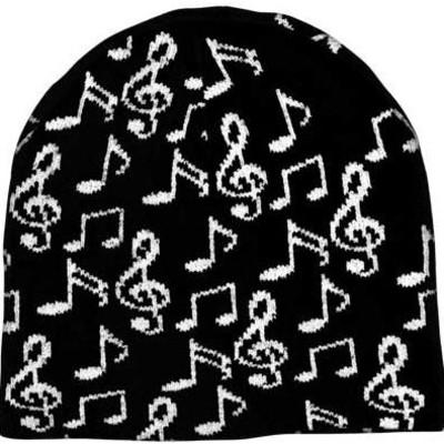 Hat Aim Music Notes Beanie - Black - Aim - 71872