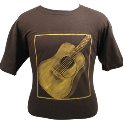 Embossed Acoustic Guitar T-Shirt - Brown & Gold - Large - Aim - 82609L