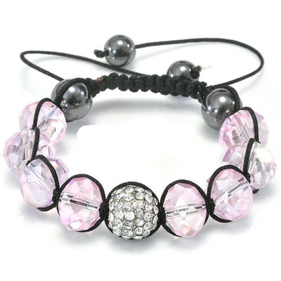 Shamballa-Style Crystal Bracelet - Rosaline Pink