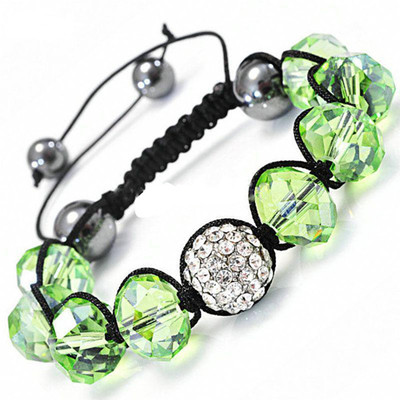 Shamballa-Style Crystal Bracelet - Emerald Green