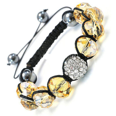 Shamballa-Style Crystal Bracelet - Light Topaz