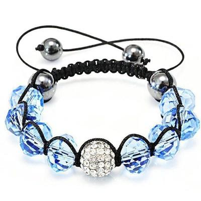 Shamballa-Style Crystal Bracelet - Aquamarine