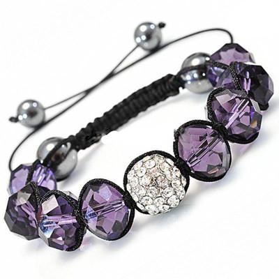 Shamballa-Style Crystal Bracelet - Blue Violet
