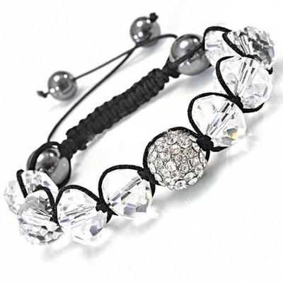 Shamballa-Style Crystal Bracelet - Clear