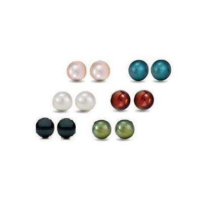 6 Pairs Swarovski Elements Crystal Pearl Earrings (10mm)