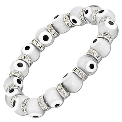 Evil Eye Charms Bracelet - White