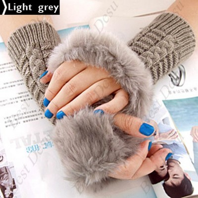 2 X Ladies Cony Hair & Knitted Half Finger Gloves - Light Grey Color