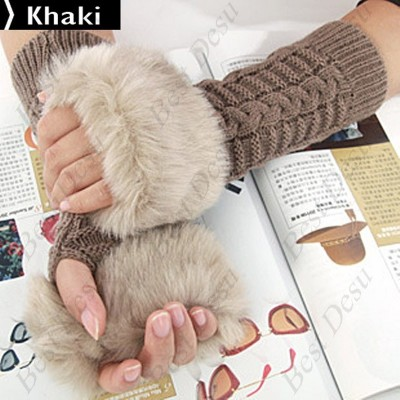 2 X Ladies Cony Hair & Knitted Half Finger Gloves - Khaki Color