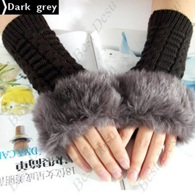 2 X Ladies Cony Hair & Knitted Half Finger Gloves - Dark Grey Color