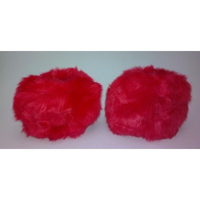 2 X Faux Fur Wristwarmers - Red Color