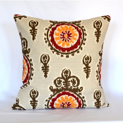 Brown Yellow Suzani Decorative Pillow Cover