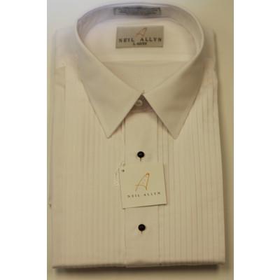 Men's white tuxedo shirt pleated front