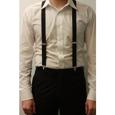 Men's black suspenders (clip-on)