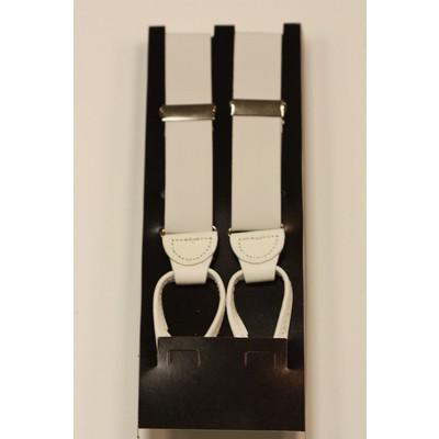 Men's white suspenders (button on)