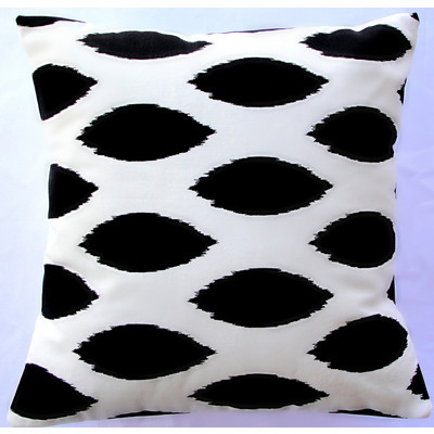 Black Ikat Decorative Pillow Cover