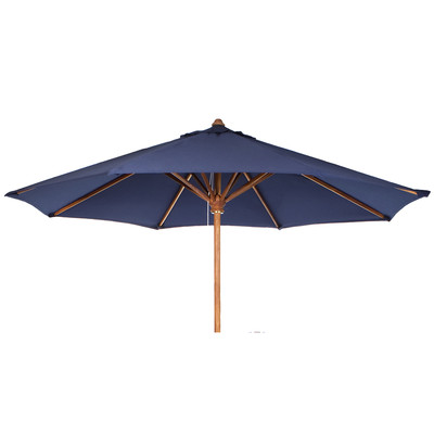 TEAK Market Table Umbrella - blue canopy