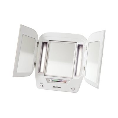 Jerdon Tri-fold Lighted Mirror 5X