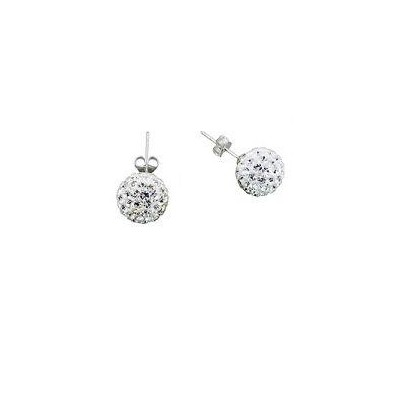 2 X Swarovski Elements Crystal Pave Balla Earrings - White Color