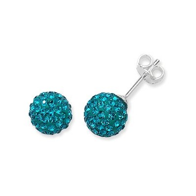 2 X Swarovski Elements Crystal Pave Balla Earrings - Turquoise Color