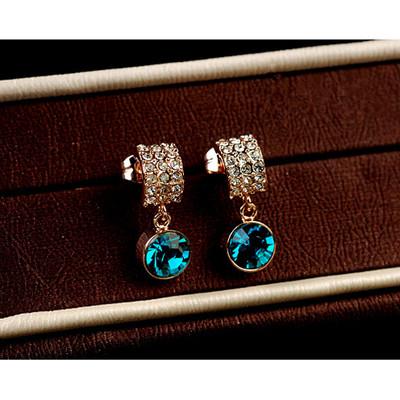 18K Gold Plated Aqua Blue Earrings