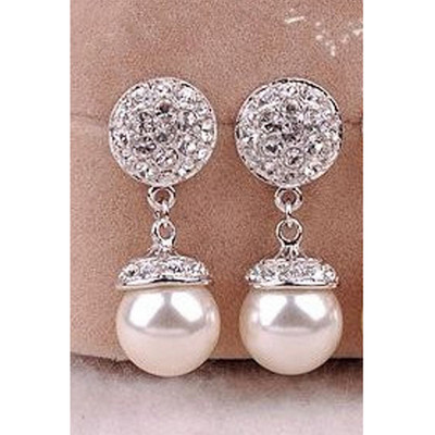 18K Gold Plated Austrian Crystal Simulated Pearl Earrings