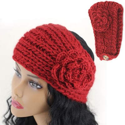 2 X Handmade Knit Crochet Headband - Red Color