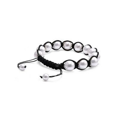 White Freshwater Pearl Shamballa Bead Bracelet