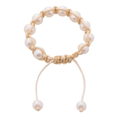 White Pearl Shamballa Kids Bracelet with Beige Cord