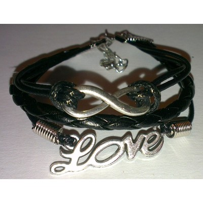 2 X Infinity & LOVE Braid Leather Ropes Bracelet - Black Color
