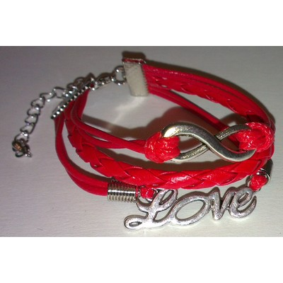 2 X Infinity & LOVE Braid Leather Ropes Bracelet - Red Color