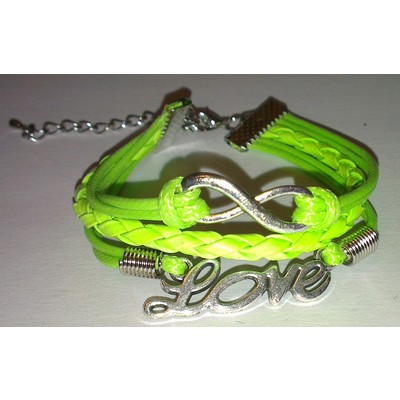 2 X Infinity & LOVE Braid Leather Ropes Bracelet - Green Color