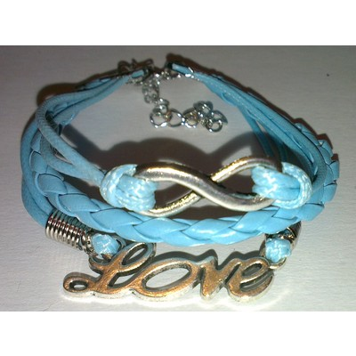 2 X Infinity & LOVE Braid Leather Ropes Bracelet - Blue Color