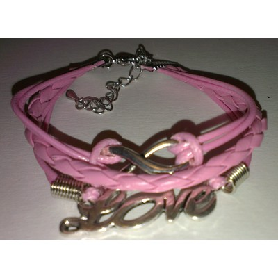 2 X Infinity & LOVE Braid Leather Ropes Bracelet - Pink Color