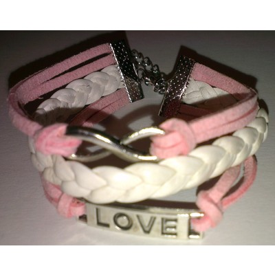 2 X Infinity & LOVE PU Leather Bracelet - Pink Color