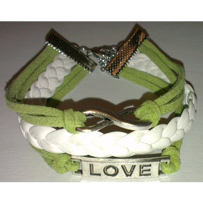 2 X Infinity & LOVE PU Leather Bracelet - Green Color