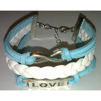 2 X Infinity & LOVE PU Leather Bracelet - Blue Color