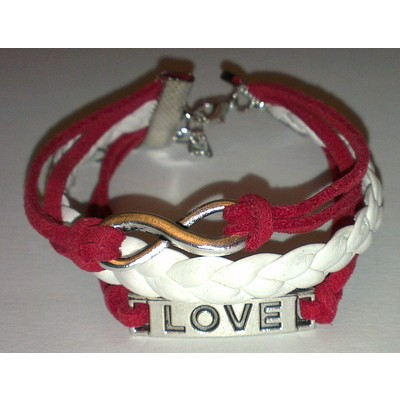 2 X Infinity & LOVE PU Leather Bracelet - Red Color