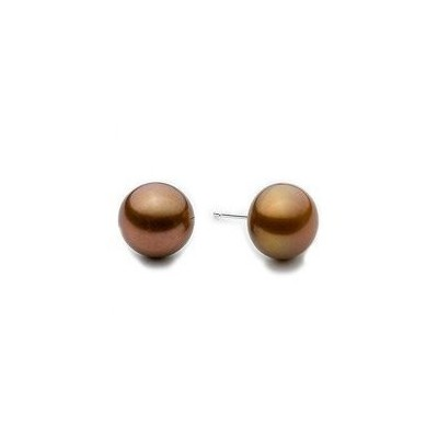 Sterling Silver 7.5mm Round Chocolate AA Quality Cultured Pearl Stud Earrings