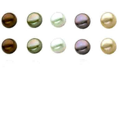 Sterling Silver 5 Pair Multi Color Freshwater Pearl White, Peacock, Gold, Green, Chocolate Stud Earring Set