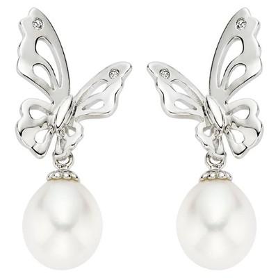 Sterling Silver Cultured Pearl Butterfly Teens Earrings
