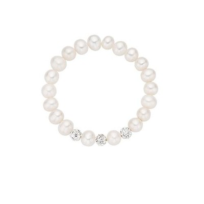 Freshwater Pearls Baby Stretch Bracelet with White Crystals