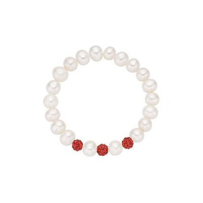 Freshwater Cultured Pearl Stretch Baby Bracelet with Red Crystals