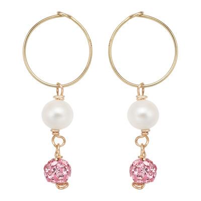 14k Pearl and Pink Crystal Hoop Earrings