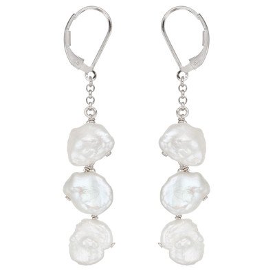 Sterling Silver Freshwater Keshi Pearl Earring