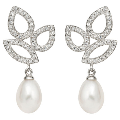 Pearlyta Sterling Silver Freshwater Pearl and CZ Drop Earring