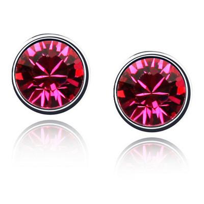 Swarovski Elements Crystals Purple Red Round Studs