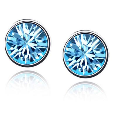 Swarovski Elements Crystals Blue Round Studs