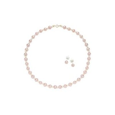 14k Yellow Gold Multi-cultured Pearl Necklace and Earring Set