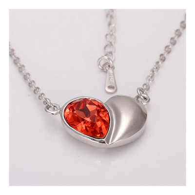 18K Gold Plated Christmas Red Double Heart Crystal Pendant