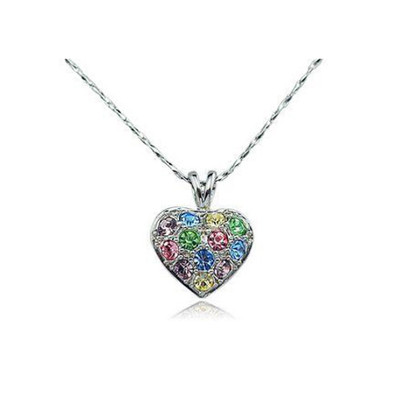 18K Gold Plated Multicolor Heart Pendant